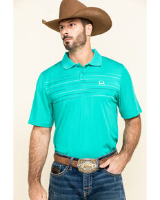 Cinch Men's Arena Flex Green Striped Short Sleeve Polo Shirt , Green, hi-res