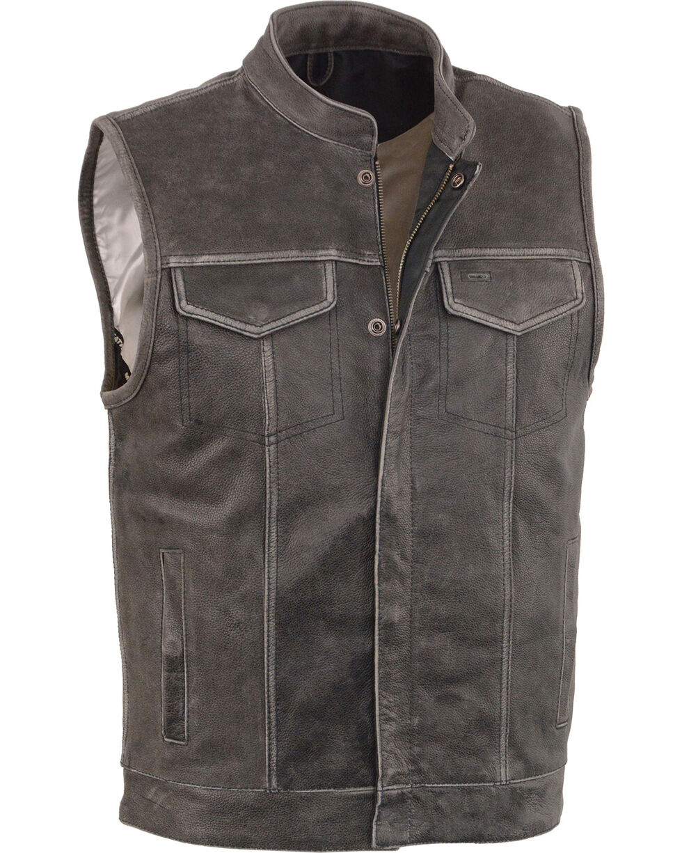 Milwaukee Leather Men's Grey Open Neck Club Style Concealed Vest - 5X, Grey, hi-res