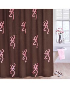 Browning Buckmark Pink Shower Curtain, Pink, hi-res