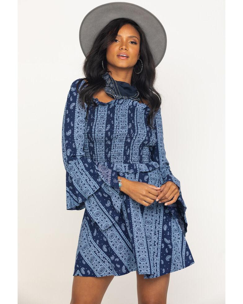 Rock & Roll Denim Women's Navy Bandana Print Dress, Navy, hi-res