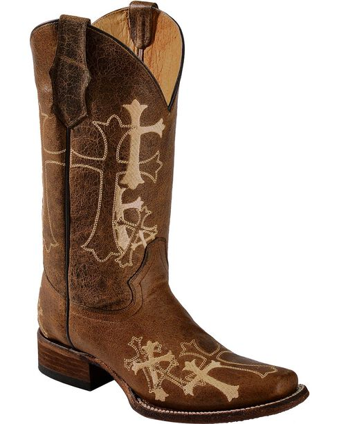 Circle G Women's Cross Embroidered Square Toe Western Boots, Chocolate, hi-res