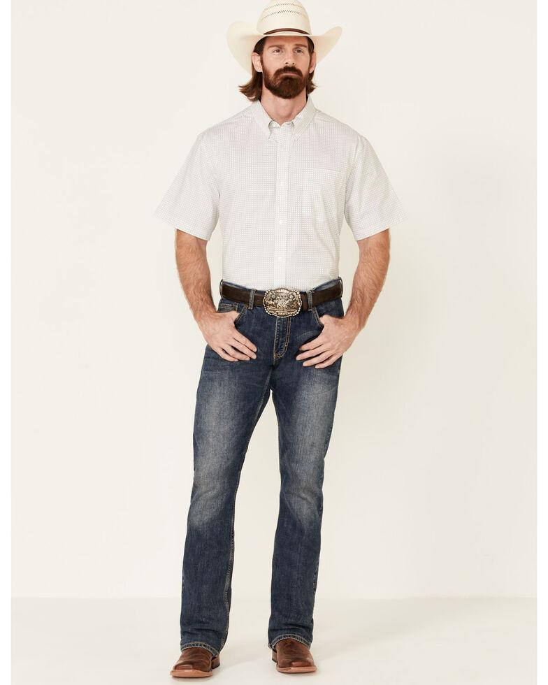 Cody James Core Men's Bryce Geo Print Short Sleeve Button-Down Western Shirt , Light Grey, hi-res
