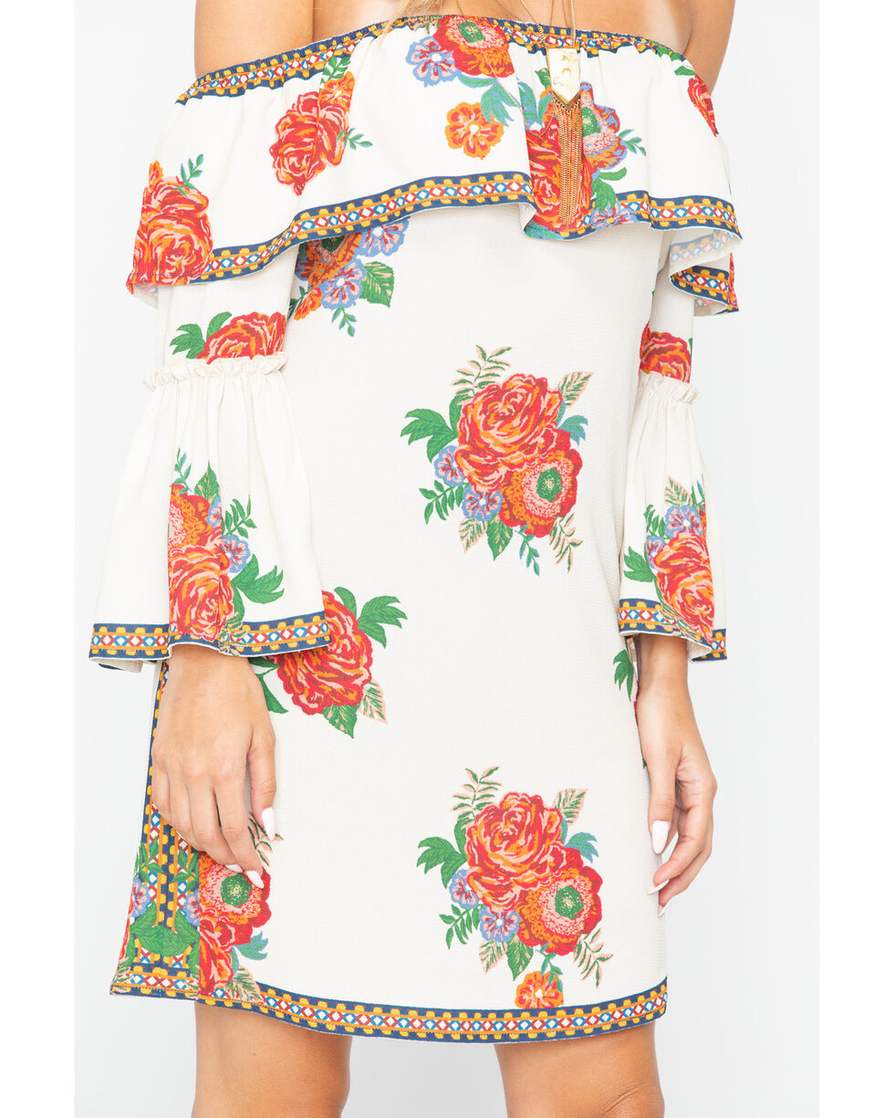 Flying Tomato Women's Rose Print Off The Shoulder Dress , Ivory, hi-res