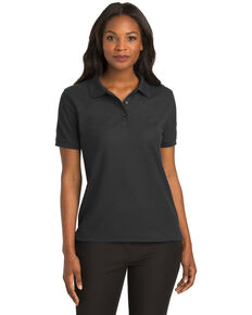 Port Authority Women's Black Silk Touch Polo, Black, hi-res