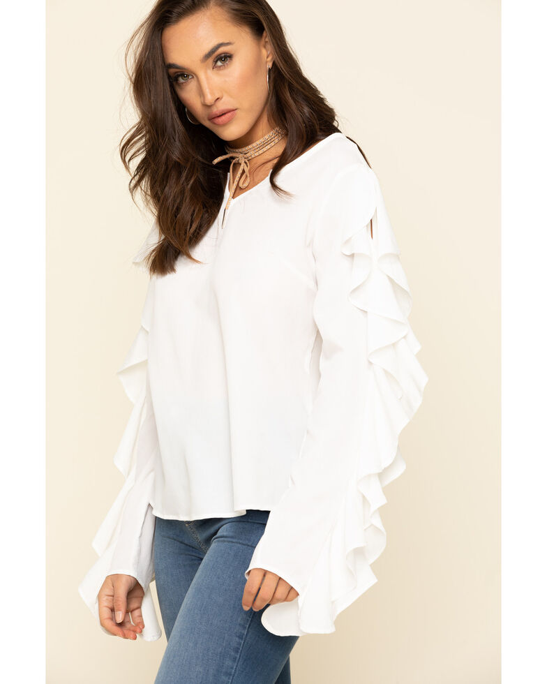 Rock & Roll Cowgirl Women's Cream Ruffle Sleeve Top, Cream, hi-res