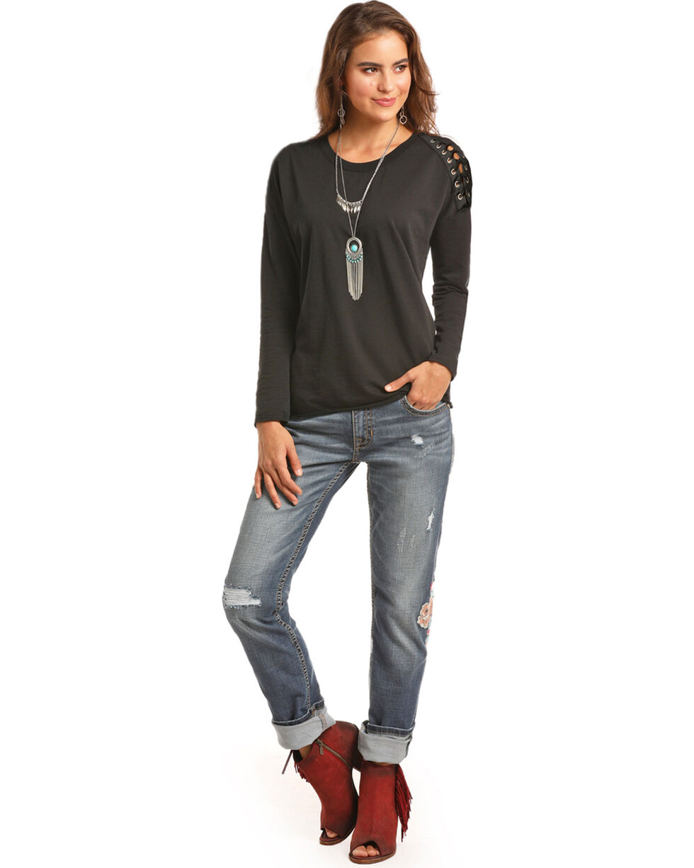 Rock & Roll Cowgirl Women's Lace Up Shoulder Top, Black, hi-res