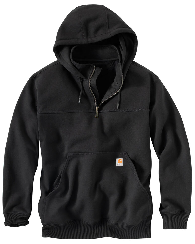 Carhartt Men's Rain Defender Paxton Hooded Zip Mock Work Sweatshirt, Black, hi-res