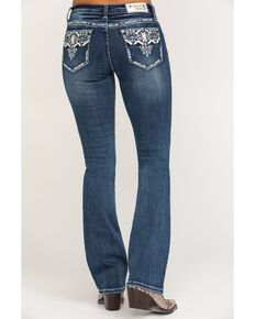"Grace in LA Women's Medium Aztec Border 34"" Bootcut Jeans, Blue, hi-res"