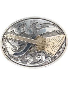 "AndWest Vintage ""El Camino"" Oval Electric Guitar Buckle , Two Tone, hi-res"
