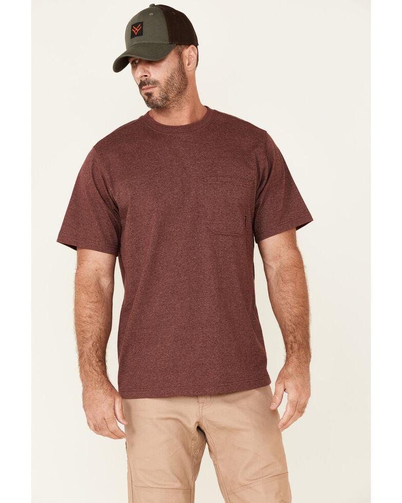 Hawx Men's Solid Burgundy Forge Short Sleeve Work Pocket T-Shirt , Burgundy, hi-res