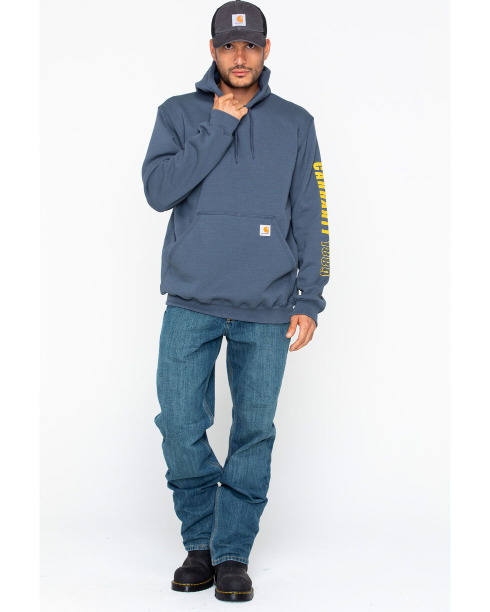 Carhartt Men's 1889 Exclusive Graphic Sleeve Work Hoodie, Blue, hi-res