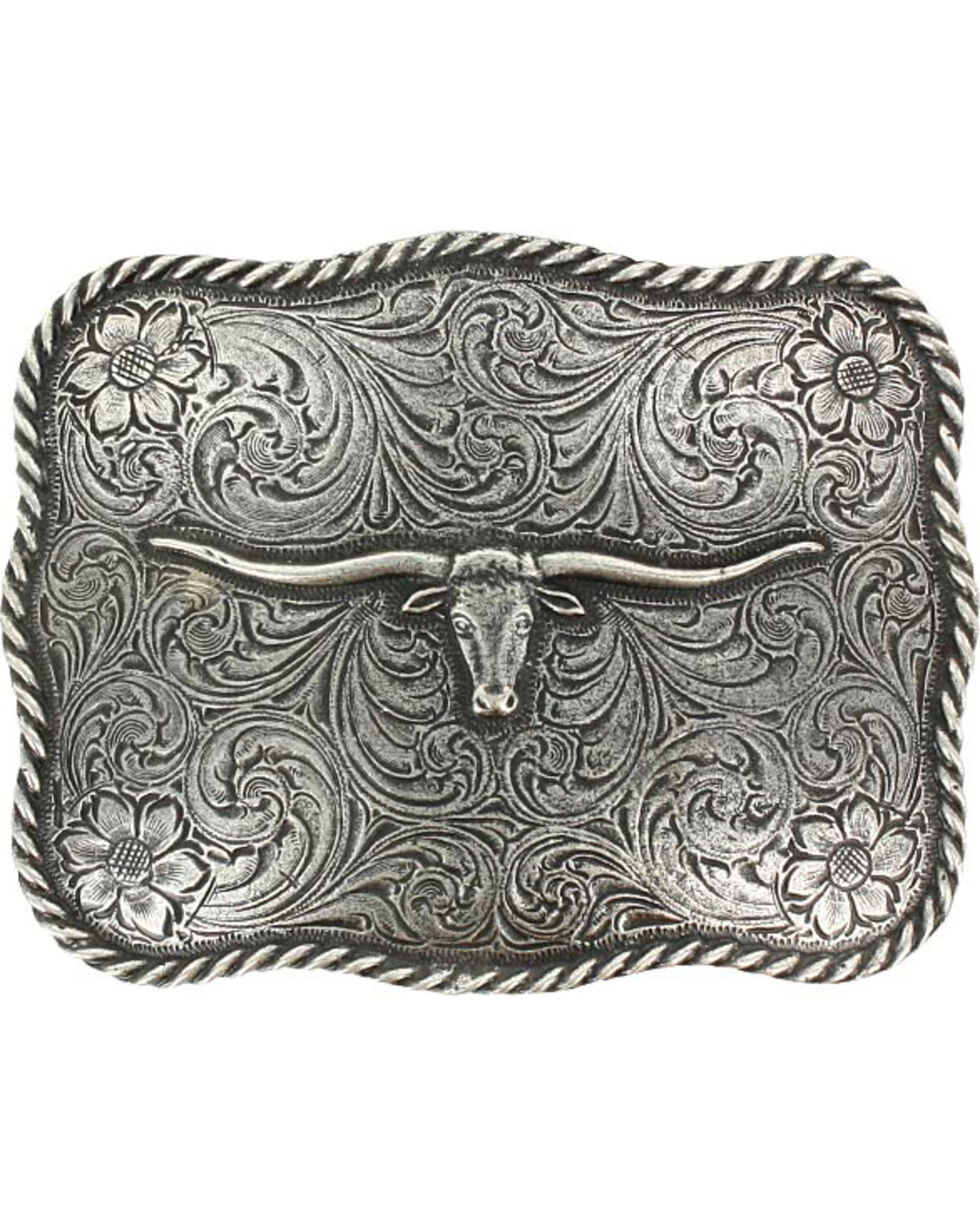 Cody James® Men's Texas Long Horn Belt Buckle, Silver, hi-res