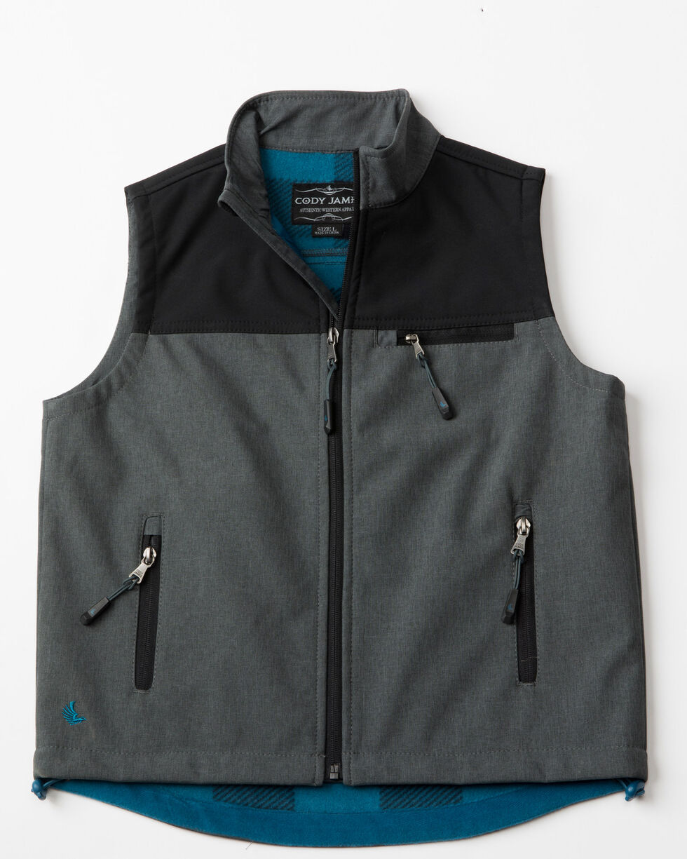 Cody James Boys' Rightwood Bonded Zip-Up Vest, Black, hi-res