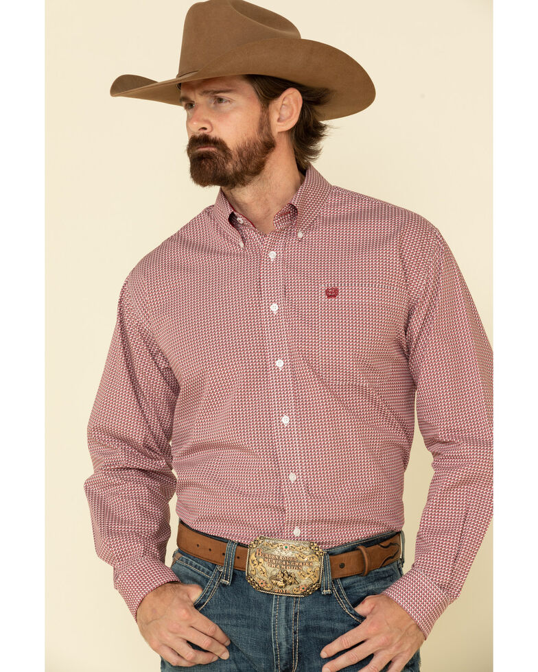 Cinch Men's Multi Diamond Geo Print Button Long Sleeve Western Shirt , Multi, hi-res