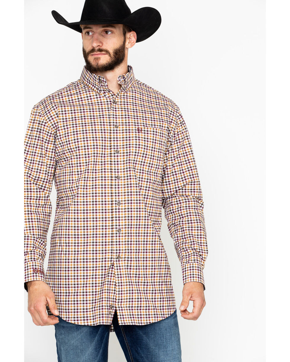 Noble Outfitters Men's Generations Fit Small Check Long Sleeve Western Shirt , Brown, hi-res