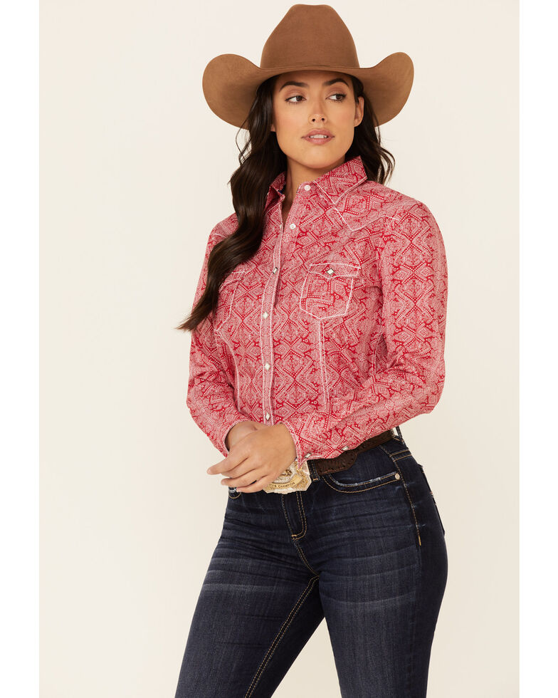 Rough Stock By Panhandle Women's Red Bandana Print Long Sleeve Snap Western Core Shirt , Red, hi-res