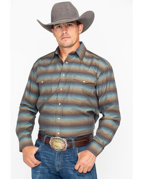 Panhandle Men's Rough Stock Long Sleeve Western Shirt, Mahogany, hi-res