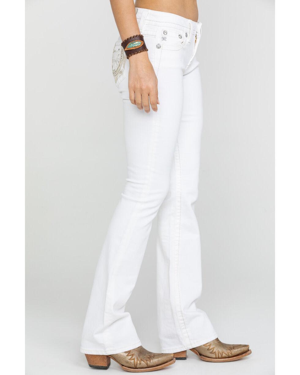 Miss Me Women's Horseshoe Bootcut Jeans, White, hi-res