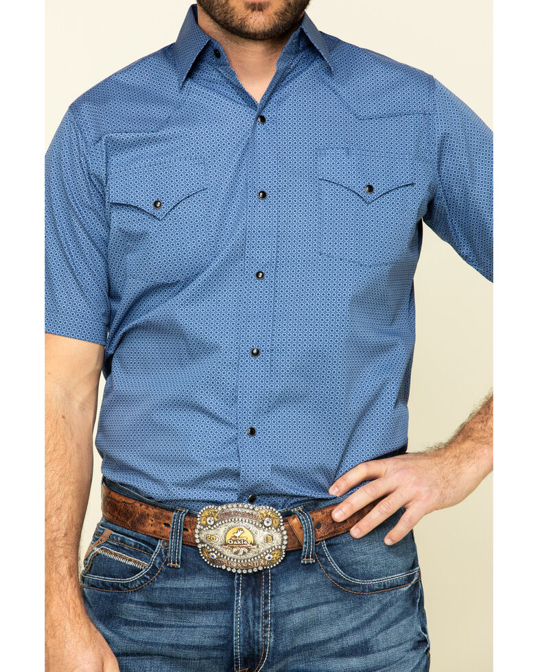 Ely Cattleman Men's Multi Geo Print Snap Short Sleeve Western Shirt , Navy, hi-res