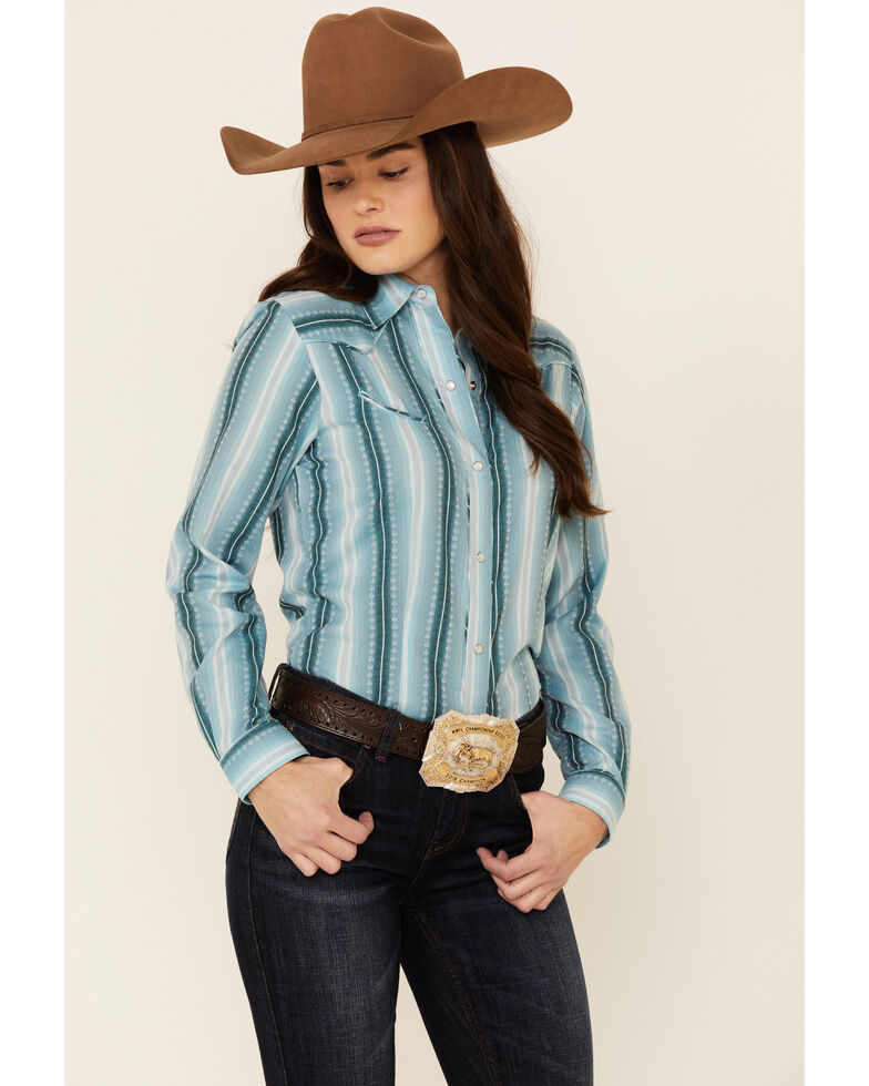Roper Women's Retro Piped Aqua Ombre Striped Long Sleeve Snap Western Shirt , Teal, hi-res