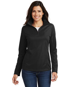 Port Authority Women's Pinpoint Mesh 1/2 Zip Pullover Shirt - Plus, Black, hi-res