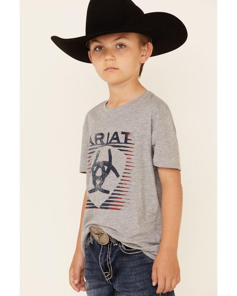 Ariat Boys' Shaded Heather Grey Logo Short Sleeve T-Shirt , Grey, hi-res