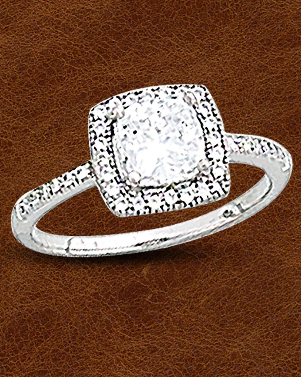Kelly Herd Sterling Silver Square Bezel Set Pave Ring, Silver, hi-res