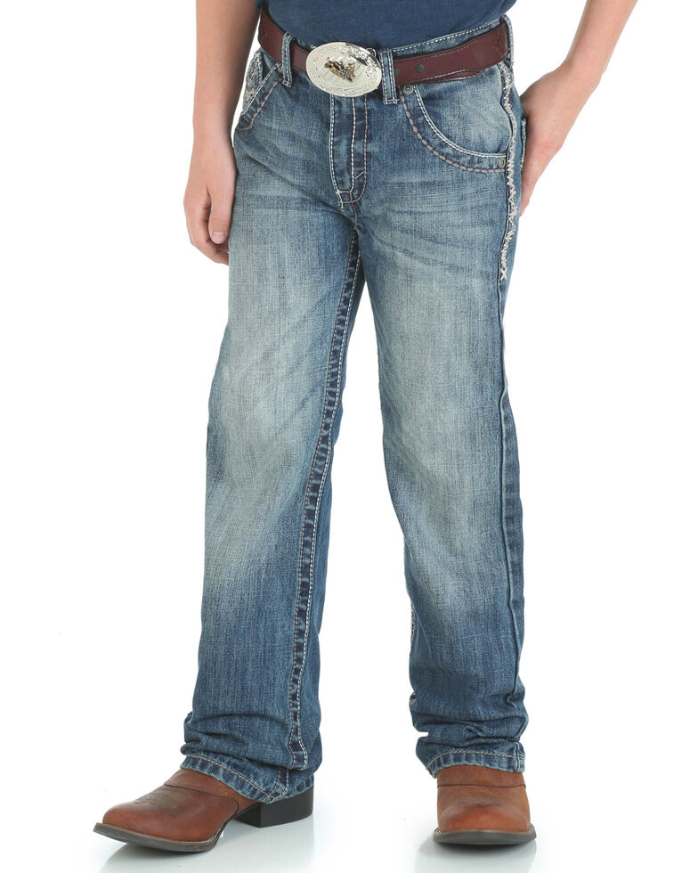 Wrangler 20X Boy's Vintage Boot Cut Jeans, Blue, hi-res
