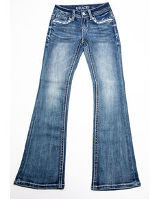 Grace in LA Girls' Bootcut Decorative Jeans , Blue, hi-res