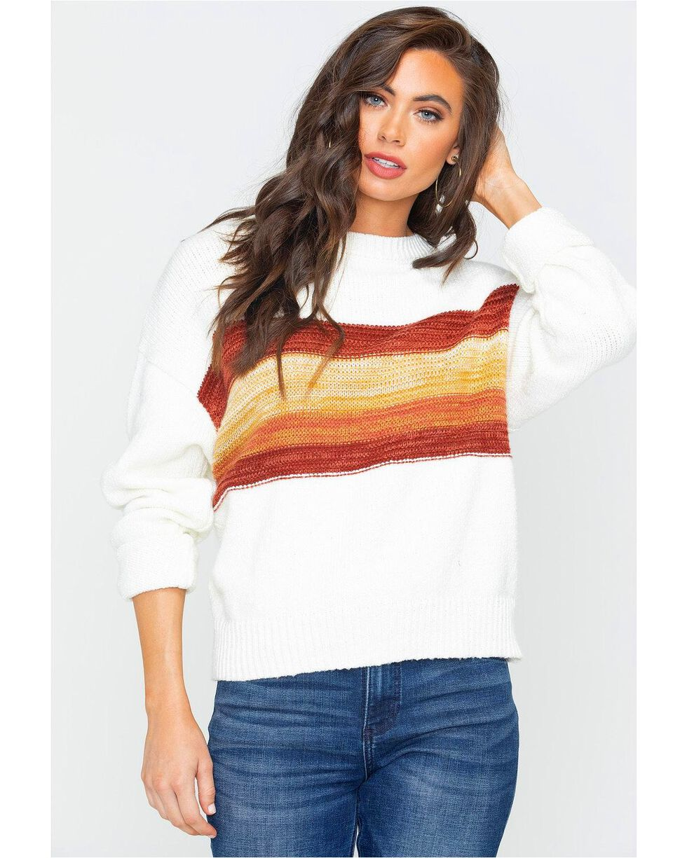 Others Follow Women's Color-Block Striped Sweater, Ivory, hi-res