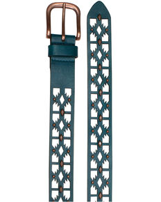 Catchfly Women's Turquoise Laser Cut Belt, Turquoise, hi-res