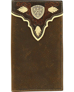 Ariat Men's Rodeo Pierced Logo Shield Wallet , Medium Brown, hi-res