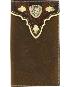 Ariat Men's Rodeo Pierced Logo Shield Wallet , Medium Brown, hi-res