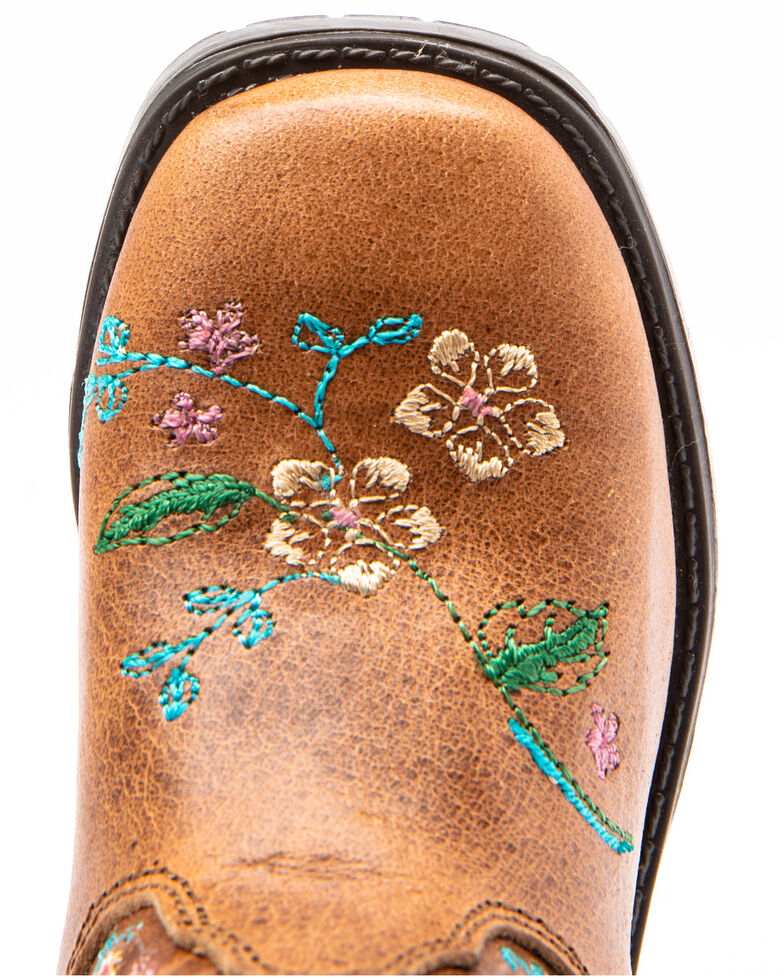Shyanne Toddler Girls' Brown Floral Western Boots - Square Toe, Brown, hi-res