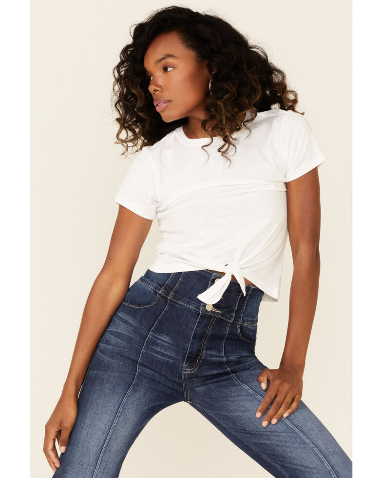 Shyanne Women's Solid White Tie-Front Short Sleeve Tee , White, hi-res