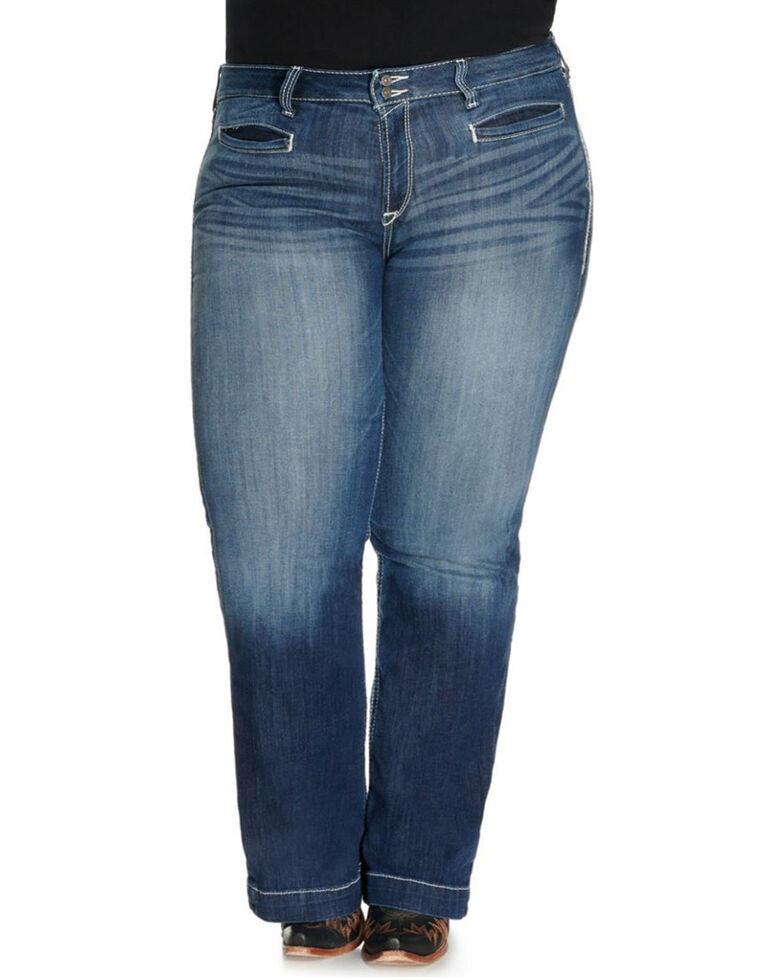 Ariat Women's Entwined Trouser Leg Jeans - Plus, Blue, hi-res
