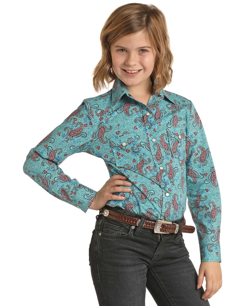 Panhandle Girls' Teal Paisley Print Long Sleeve Western Shirt , Turquoise, hi-res