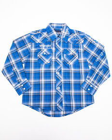 Wrangler Boys' Blue Logo Plaid Long Sleeve Western Shirt , Royal Blue, hi-res