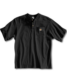 Carhartt Short Sleeve Henley Work Shirt, Black, hi-res