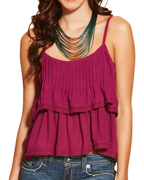 Ariat Women's Ginger Tiered Tank, Purple, hi-res