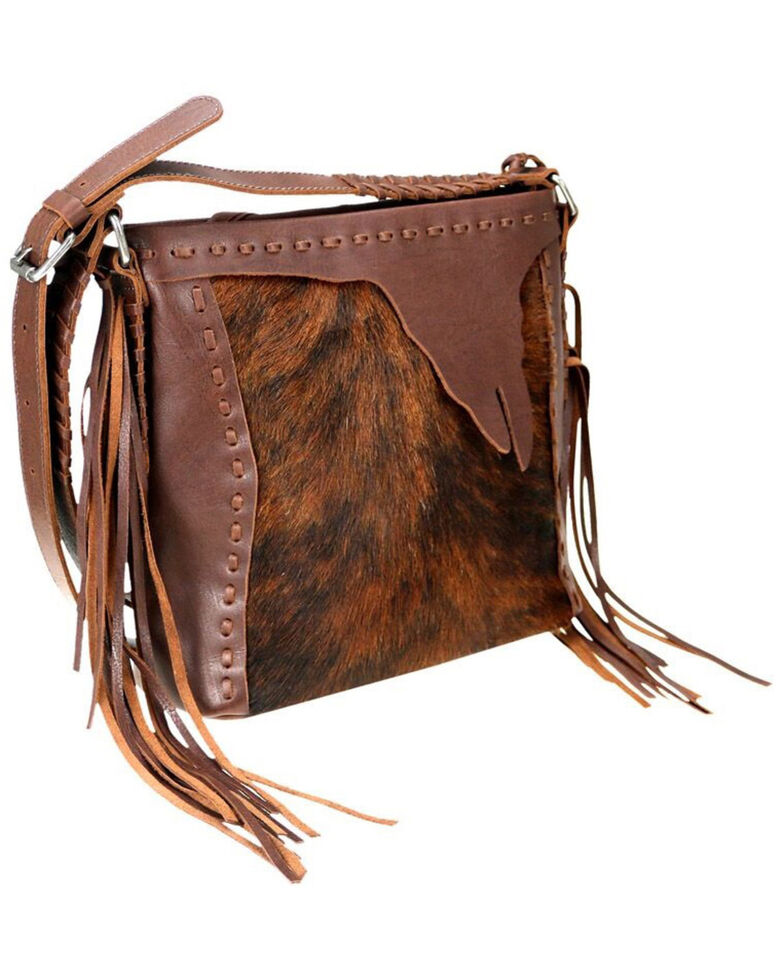 Delila Women's Coffee Leather Hair On Hide Crossbody, Coffee, hi-res
