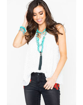 Eyeshadow Women's Sequin V-Neck Cami Top , White, hi-res