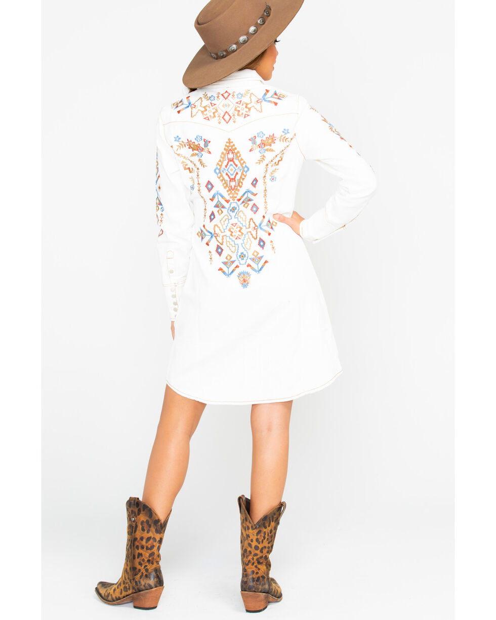 Stetson Women's Twill Embroidered Shirt Dress, White, hi-res