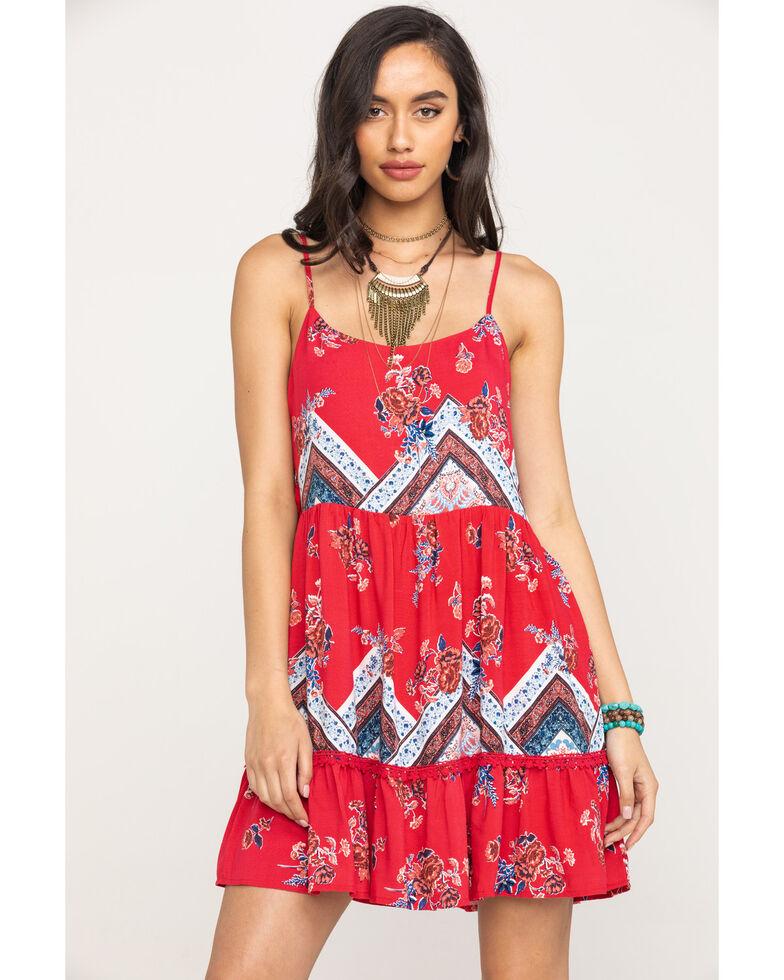 Coco + Jaimeson Women's Red Print Dress, Red, hi-res