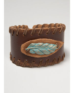 Cowgirl Confetti Women's Laced Up Feather Cuff, Brown, hi-res