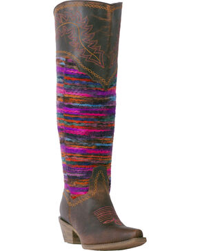 Laredo Women's Brown Distressed Multi-Color Woven Cowgirl Boots - Snip Toe, Brown, hi-res