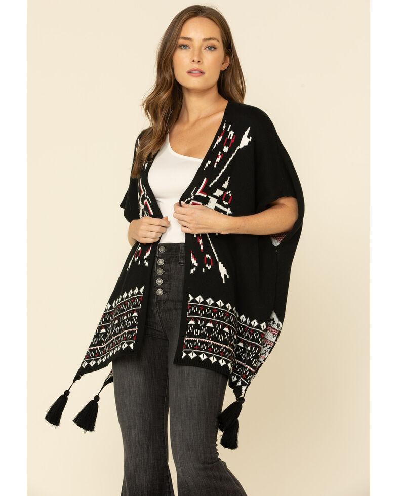 Wrangler Retro Women's Black Aztec Tassel Kimono , Black, hi-res