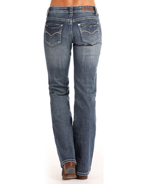 Rock & Roll Cowgirl Women's Curved V Riding Jeans - Boot Cut, Indigo, hi-res