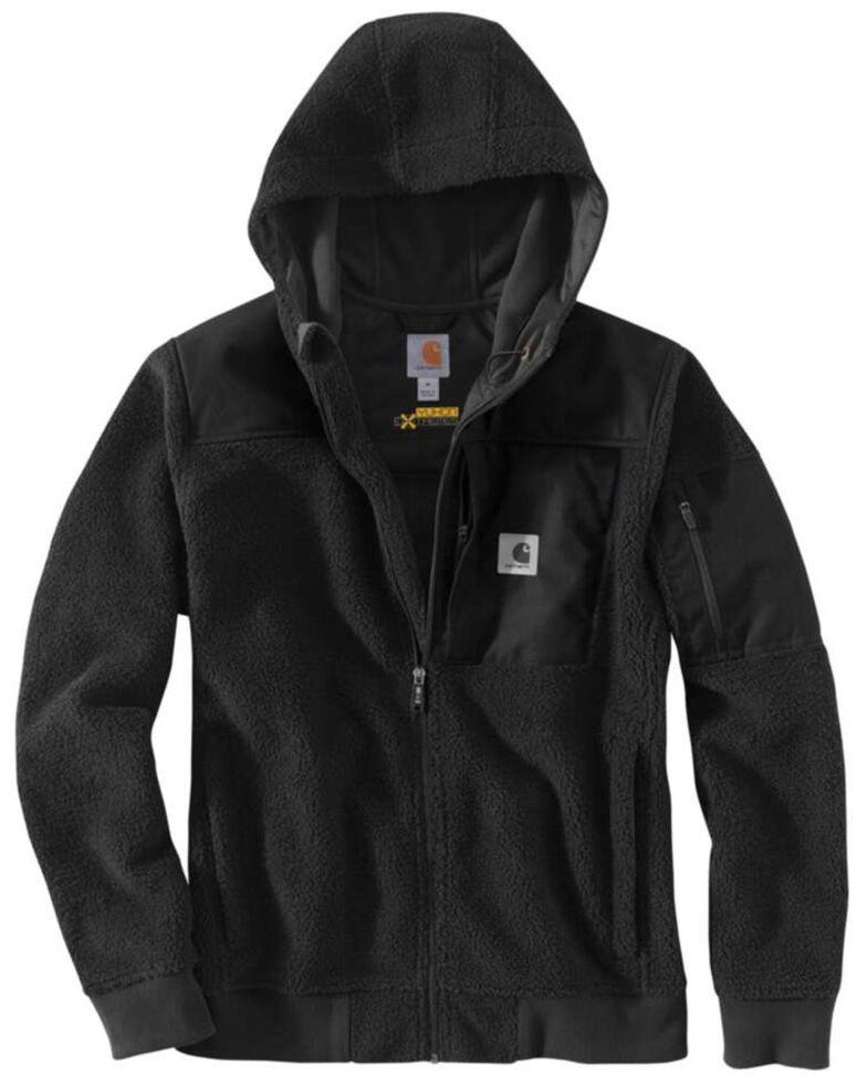 Carhartt Men's Black Yukon Extremes Wind Fighter Fleece Active Hooded Work Jacket, Black, hi-res