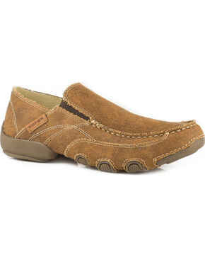 Roper Men's Tan All Over Vintage Driving Moc Shoes , Tan, hi-res